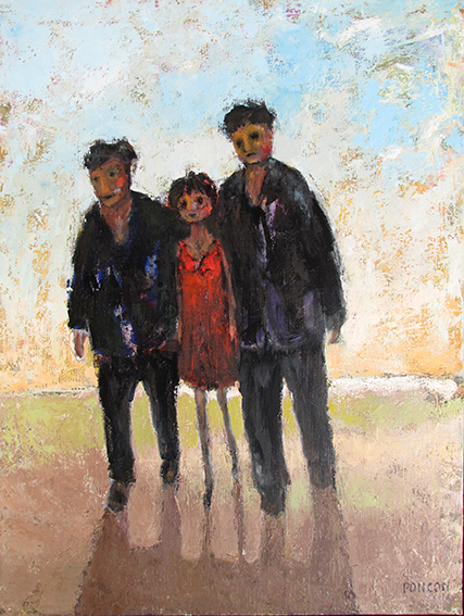 Alain Ponçon Deux hommes, une femme, huile sur toile 130 x 97