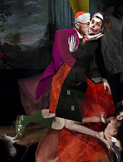 D'après « La none et le cardinal » d'Egon Schiele , 2019 ,collage numérique, 40 x 30 cm, 350 euros